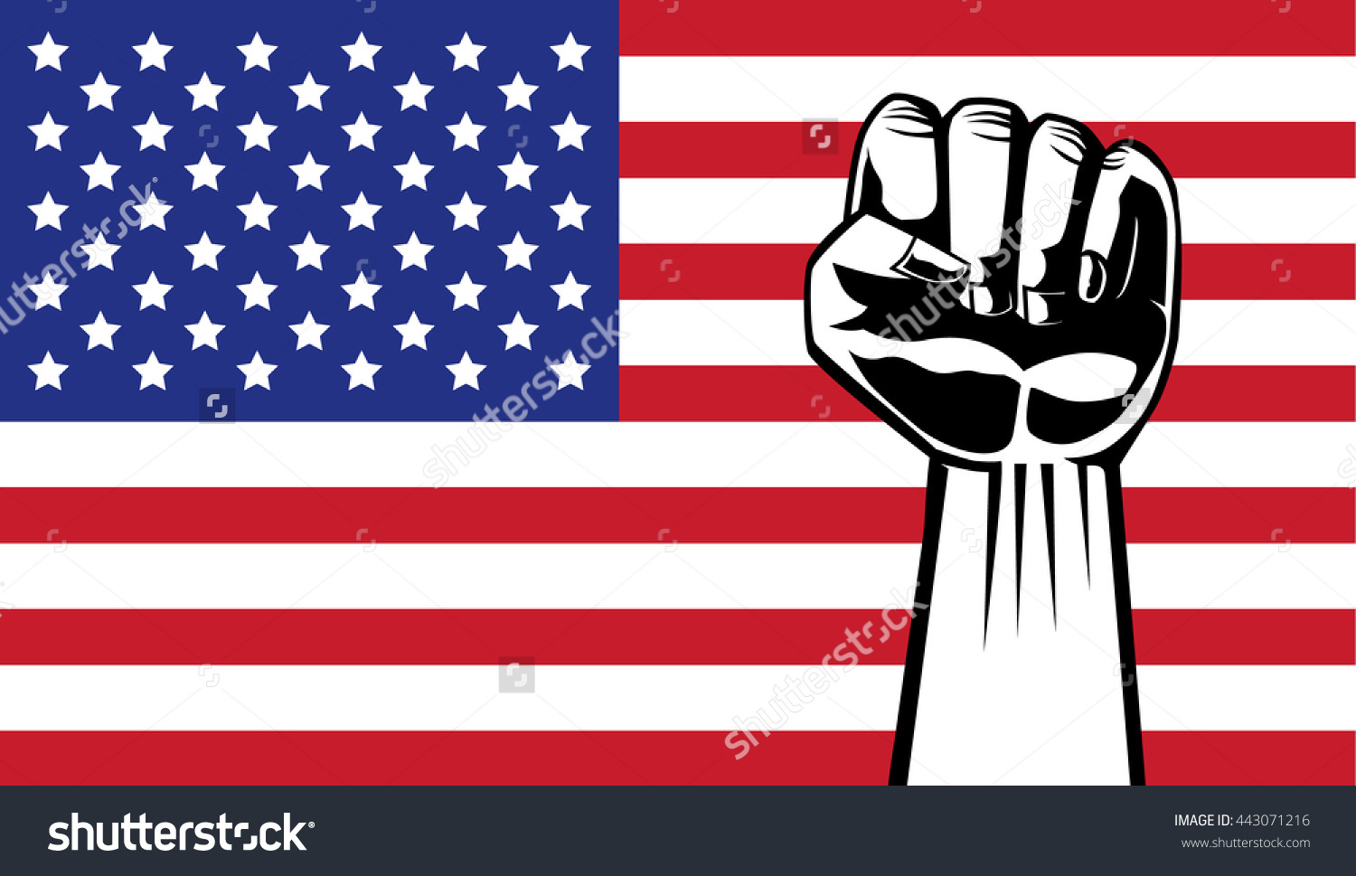 Lifting Hand Showing Fist On American Stock Vector 443071216.