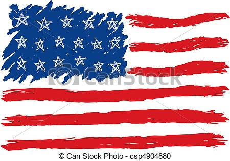 Vector Clipart of Hand Drawn American Flag csp4904880.