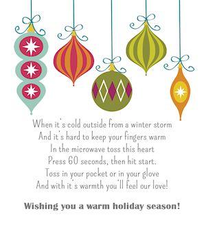 Holiday Hand Warmers and Printable Gift Tag!.