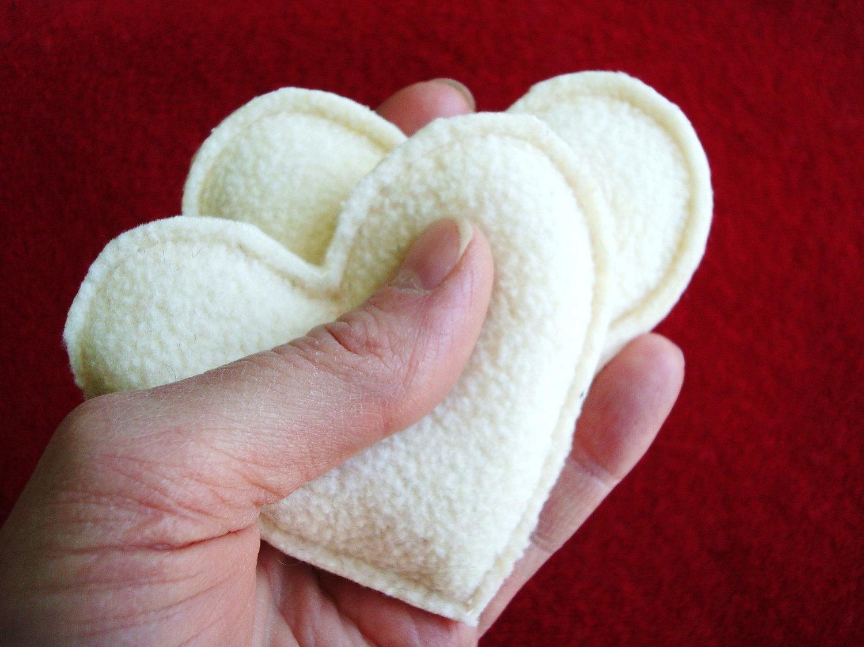 Pocket Hand Warmers Fleece VANILLA CREAM Hearts Eco by WormeWoole.