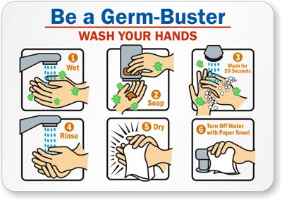 Washing hand in morning clipart.