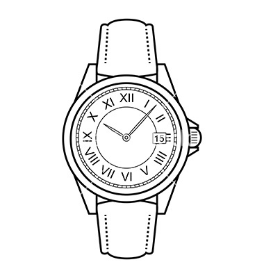 Hand watch clipart black and white.