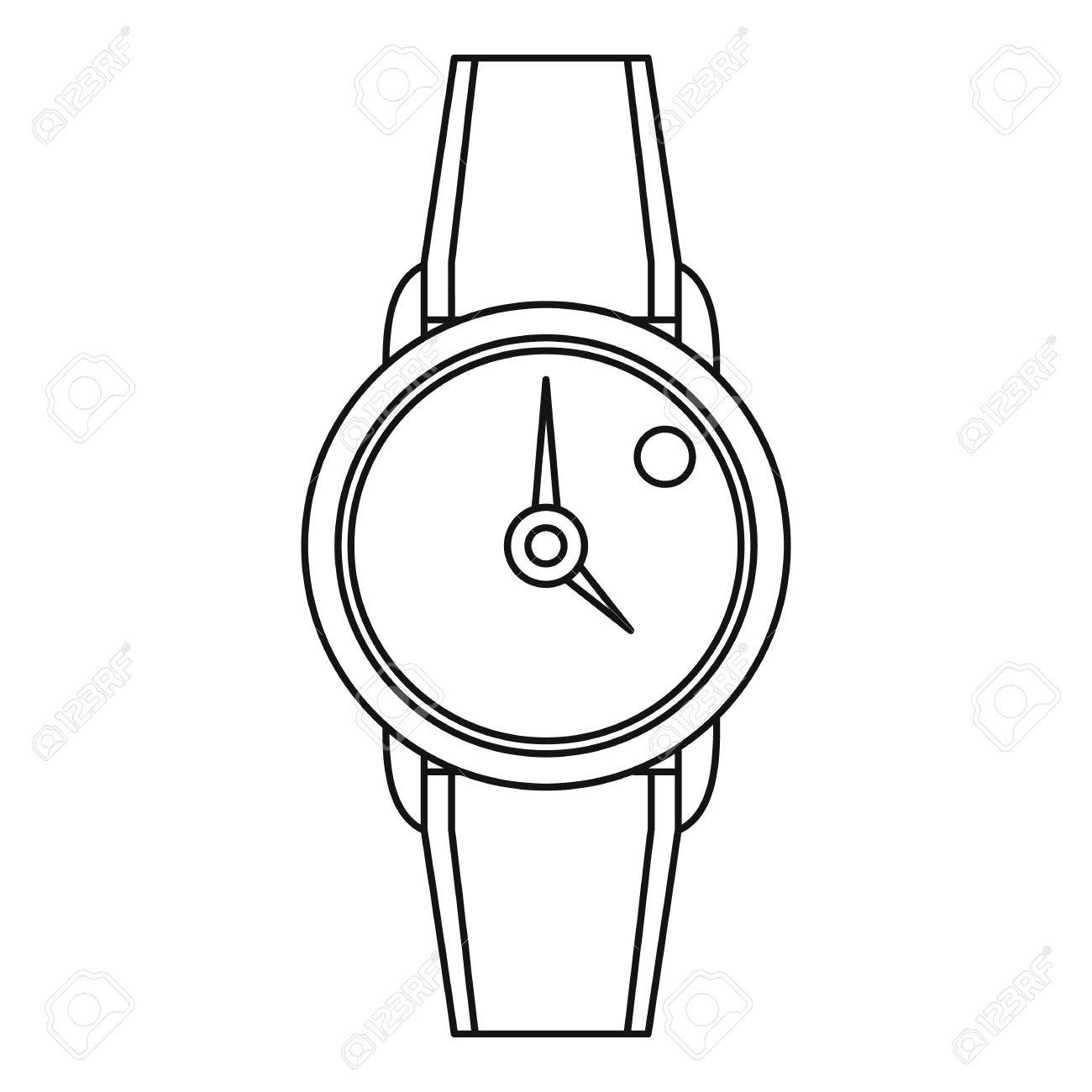 Hand watch icon, outline style.