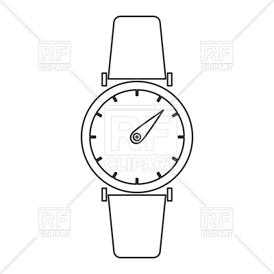 Hand watch or wristwatch outline on white background Vector Image.
