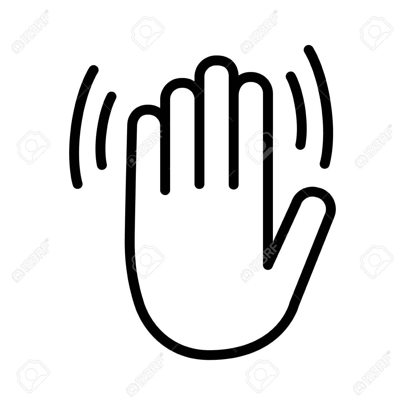 Hand wave, waving hi, hello, bye or goodbye gesture line art...