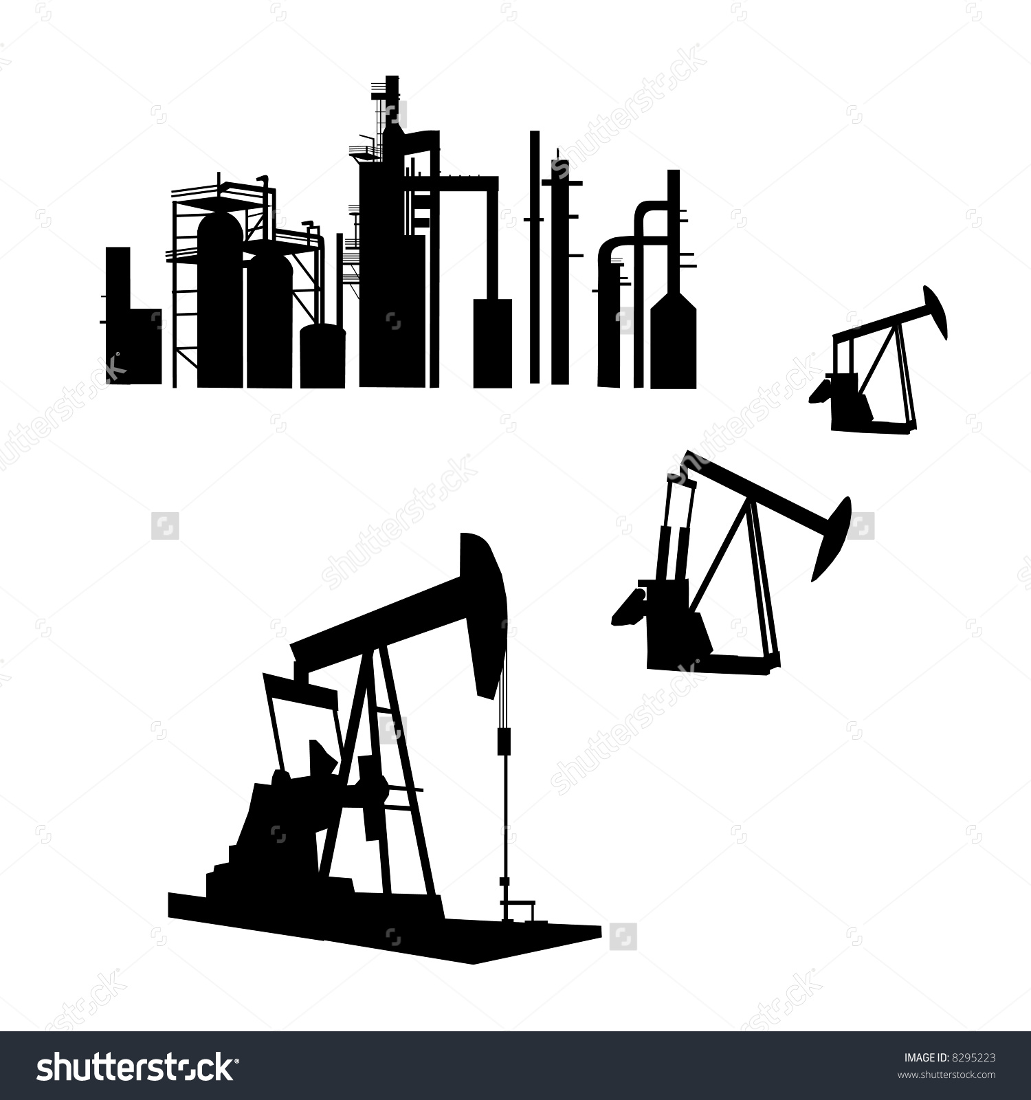 Hand Drawn Isolated Silhouettes Oil Refinery Stock Illustration.