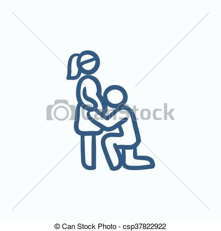 Vector Illustration of Man with pregnant wife sketch icon..