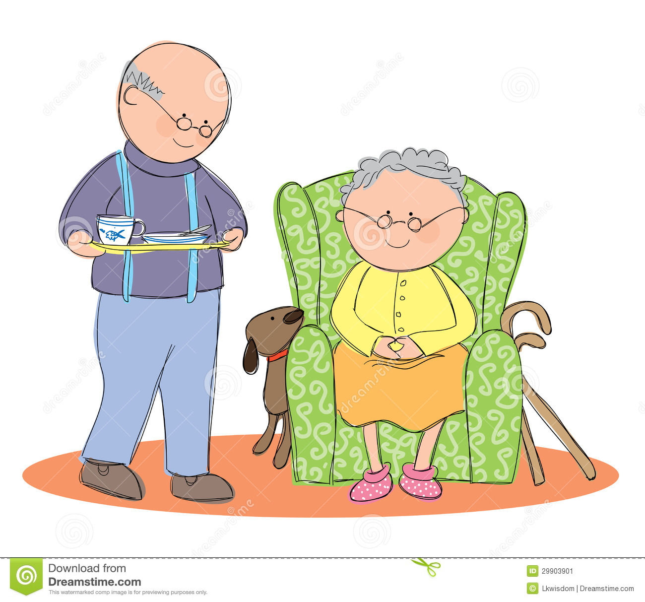Hand Drawn Picture Of An Old Man Providing Home Care For His Wife.