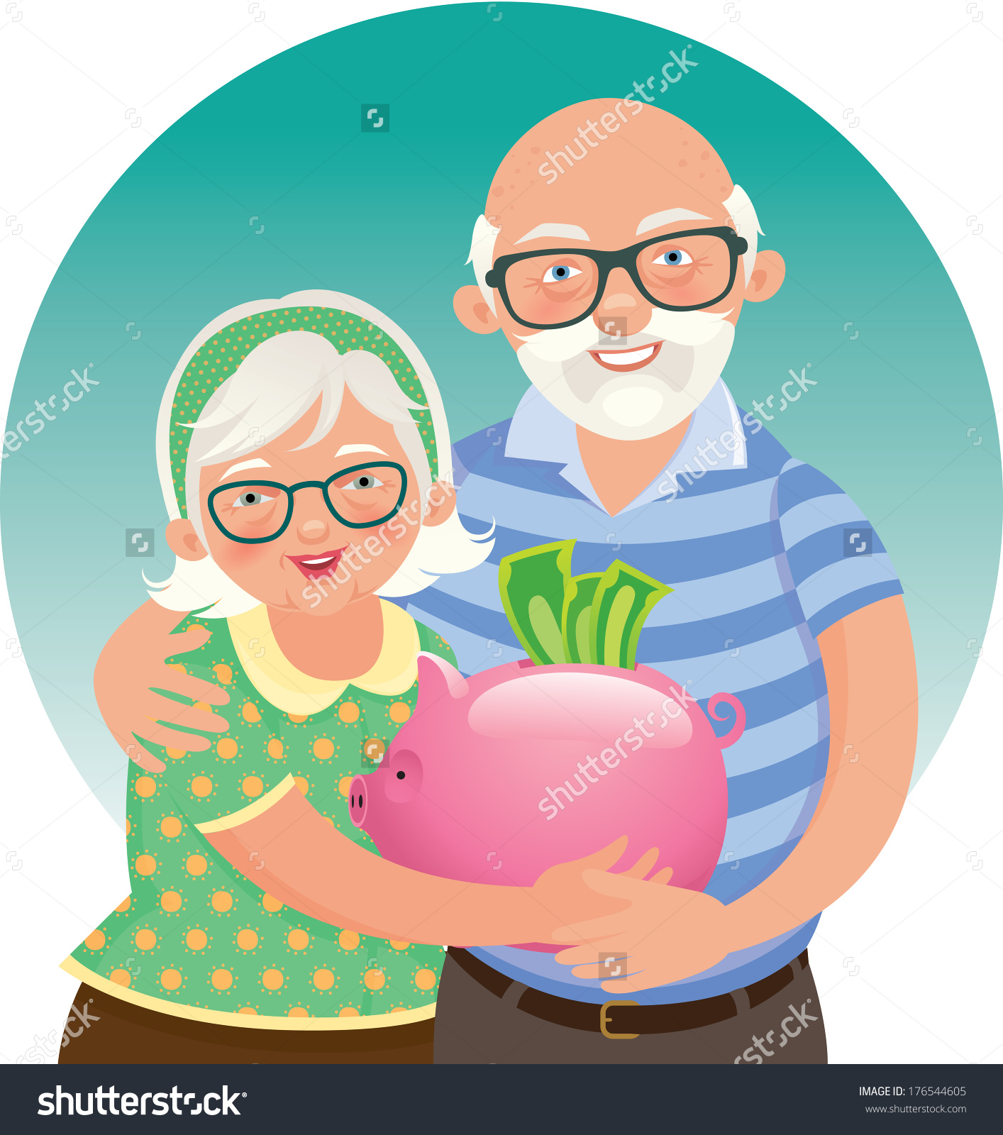 Elderly Husband And Wife In A Piggy Bank In Hand Vector.