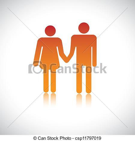 Vector Clip Art of Illustration of husband wife holding together.