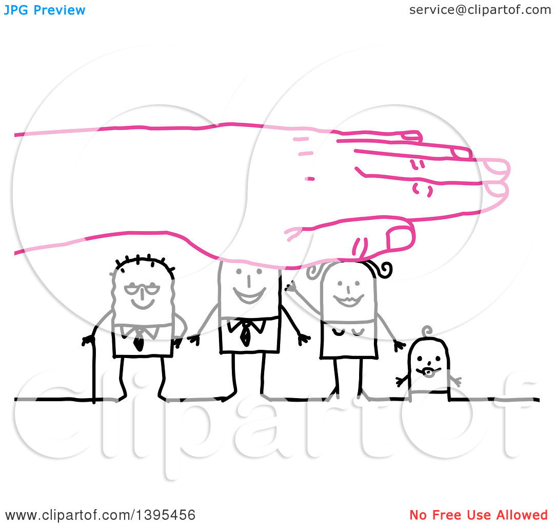 Clipart of a Pink Hand Protecting a Sketched Stick Business Man.