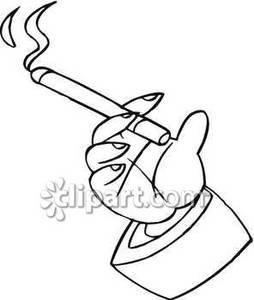 Hand Holding a Burning Cigarette Royalty Free Clipart Picture.