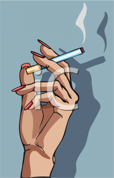 Woman's Hand Holding a Cigarette.
