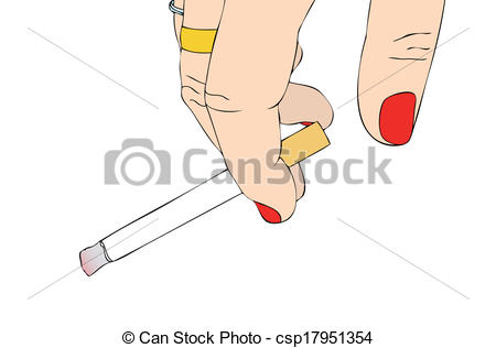 Clipart Vector of Female hand with cigarette csp17951354.