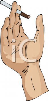 Royalty Free Clip Art Image: Hand Holding a Cigarette.