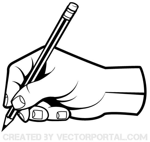 Human Hand Holding a Pencil Clip Art.