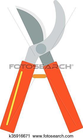 Clipart of Gardening scissors hand work and steel equipment vector.