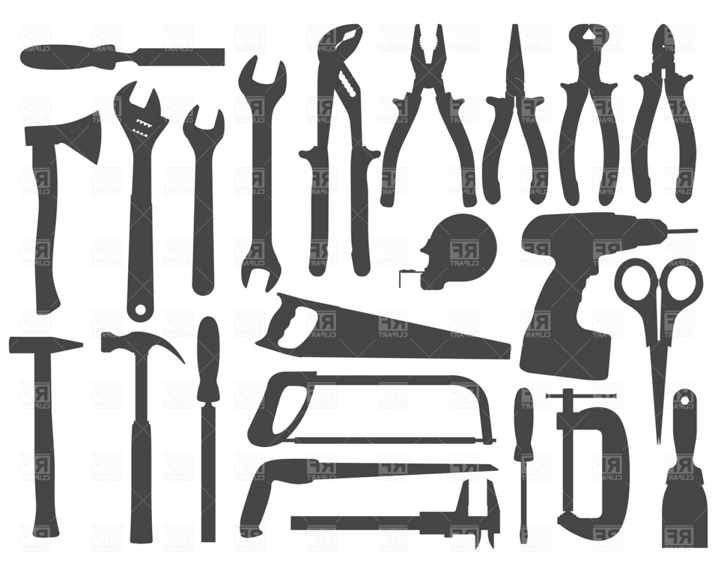 Best Hand Work Tools Silhouette Set Vector Clipart Design.