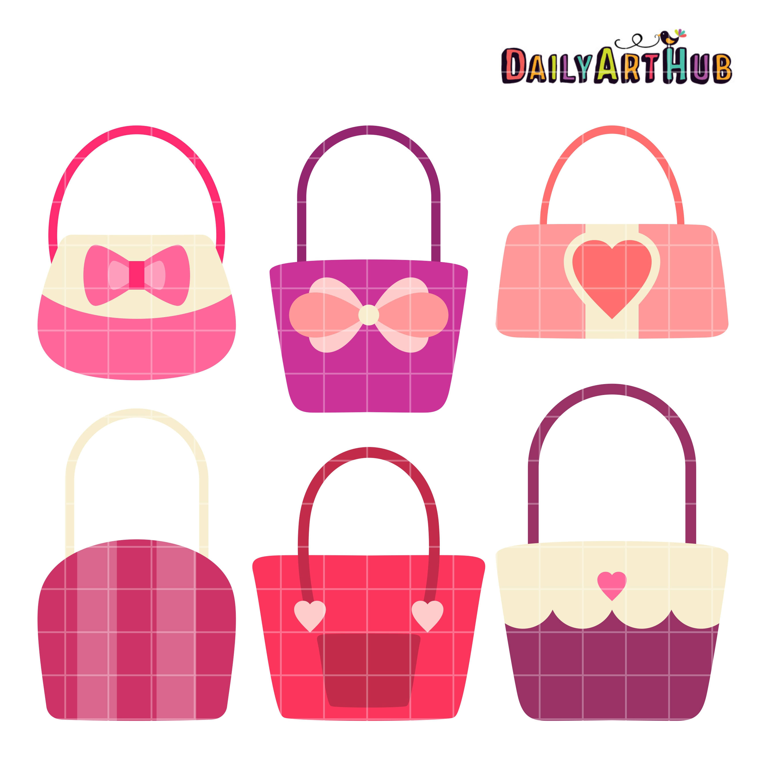 Cute Girly Handbags Clip Art Set.