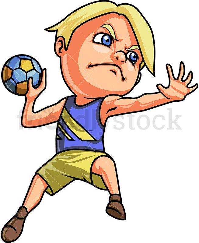 Little Boy Playing Handball.