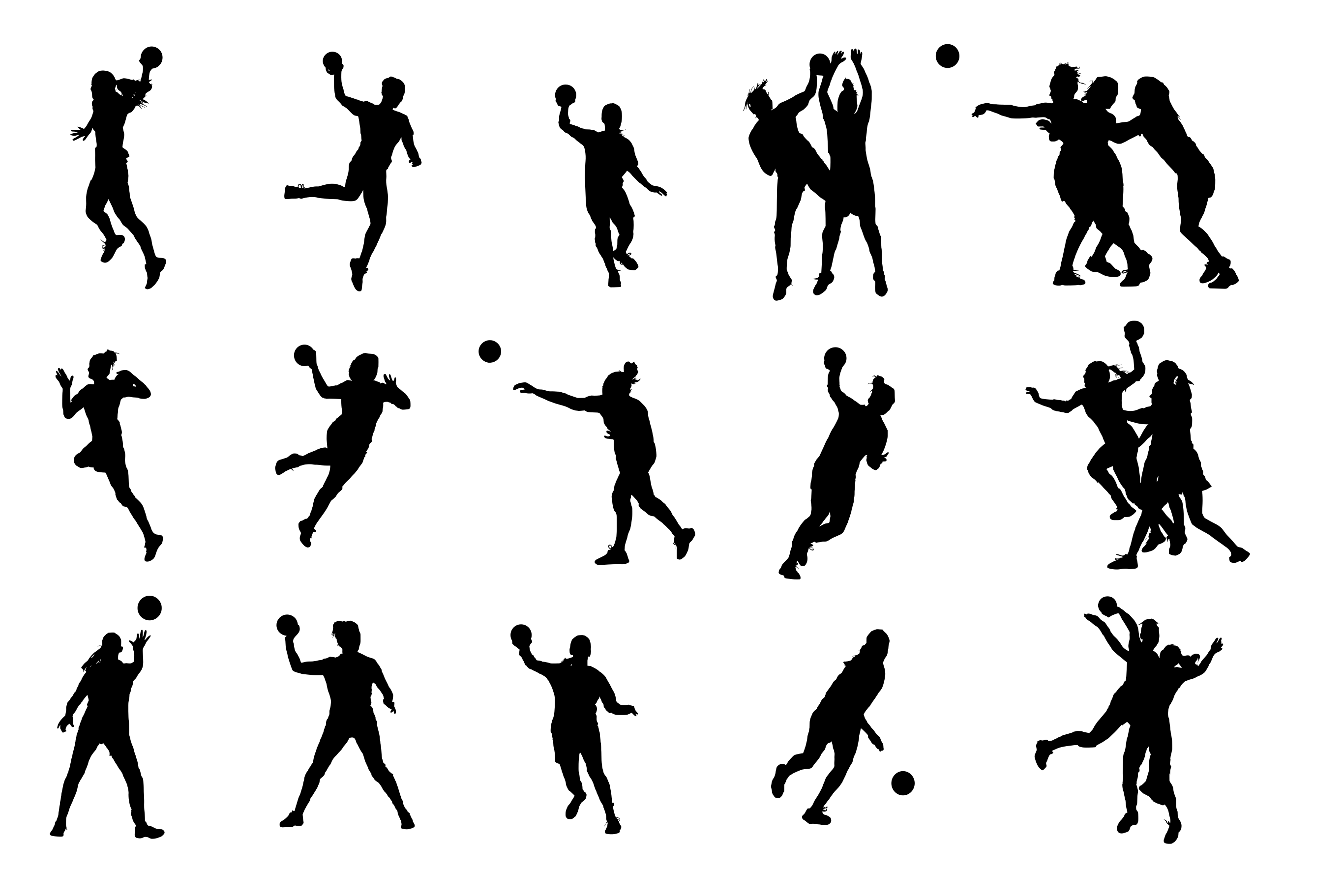 15 Handball Silhouette (PNG Transparent).