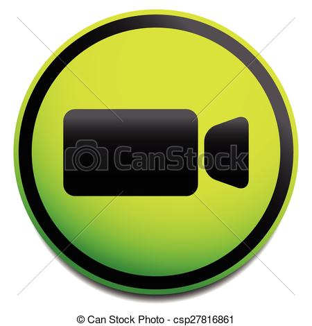Clip Art Vector of Round icon with small, compact video camera.