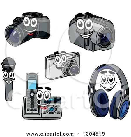 Clipart of Cartoon Camera, Handycam, Microphone, Landline Phone.