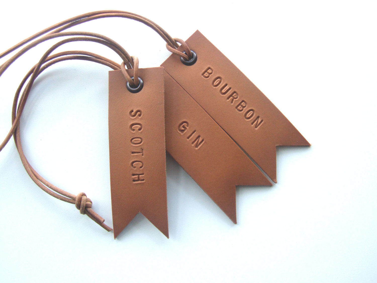 Hand stamped leather.