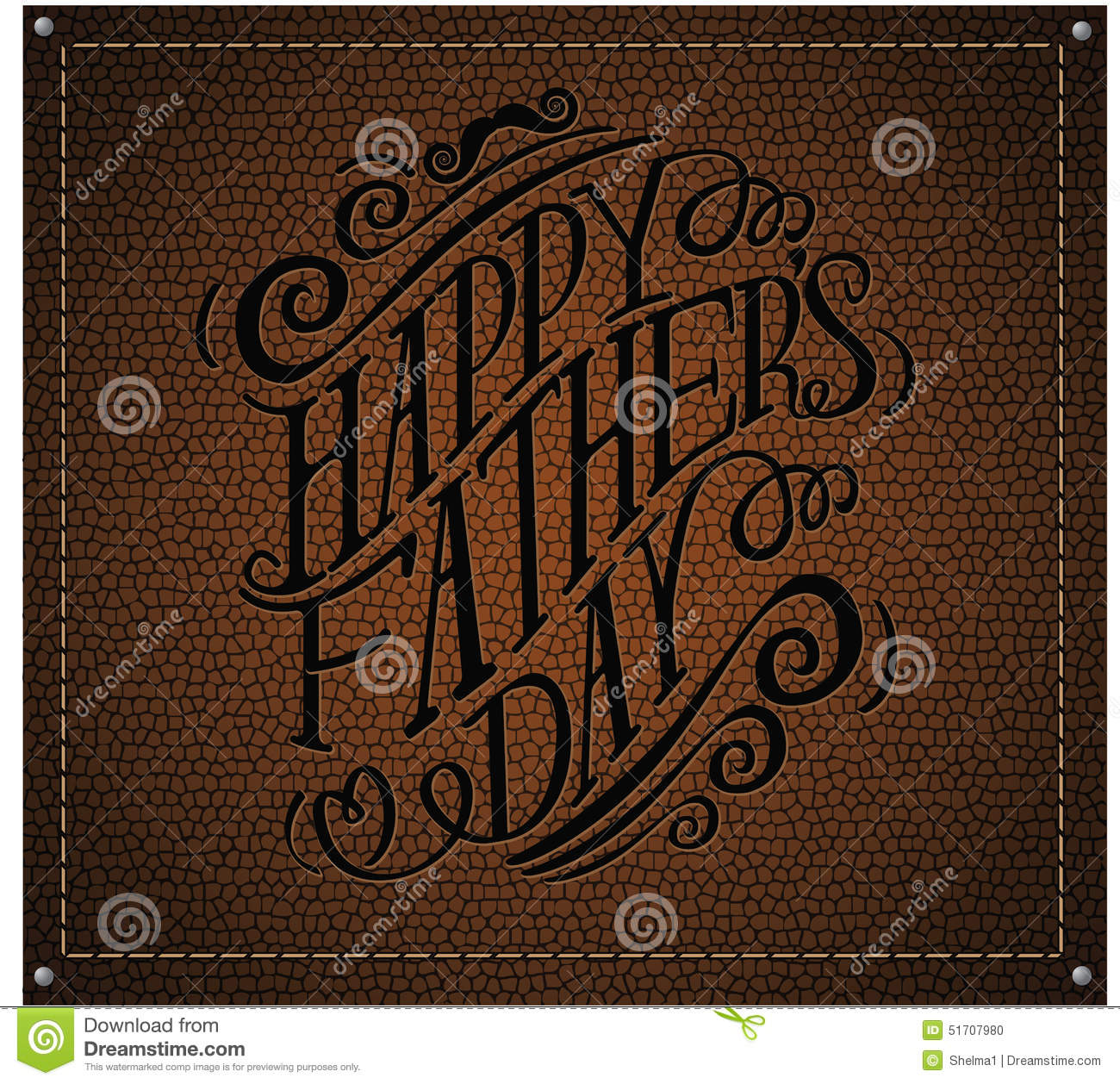 Happy Fathers Day Hand Drawn Typography Leather Embossed EPS 10.