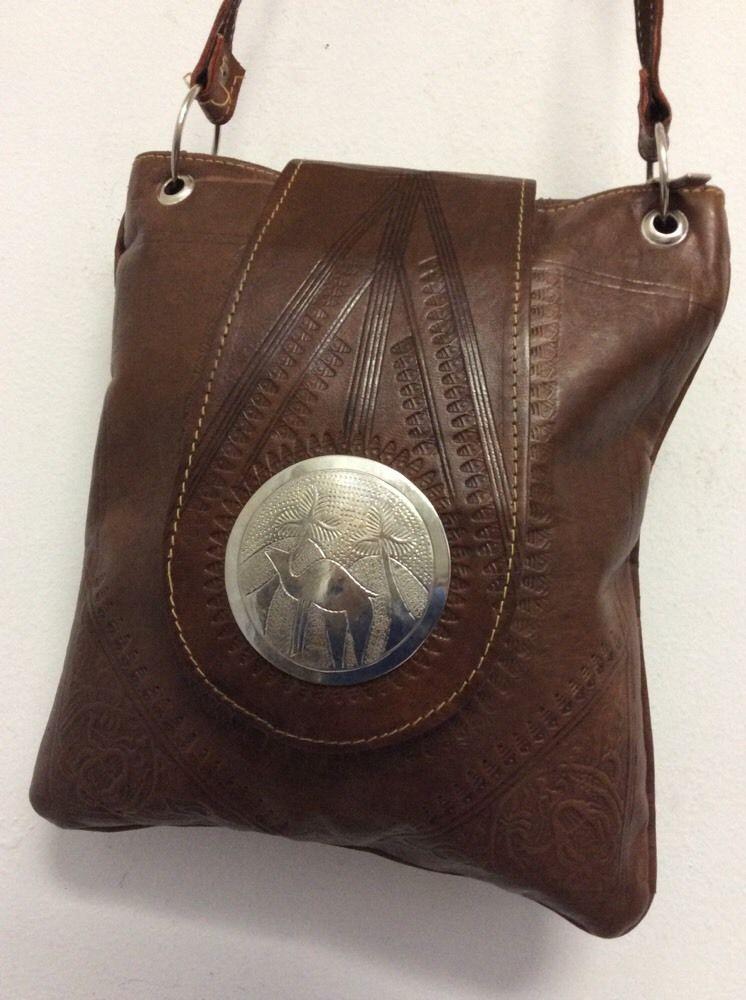 Moroccan Khamsa Hand Embossed Leather Bag Purse Black Crossbody.
