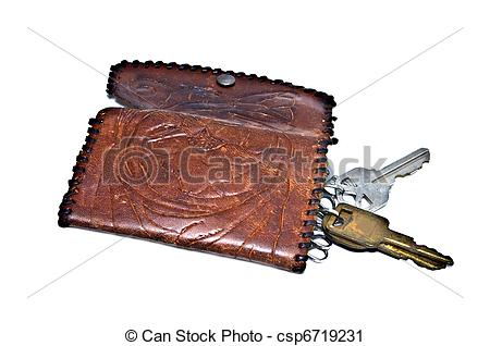 Stock Photography of Old Stamped Leather Key Holder.