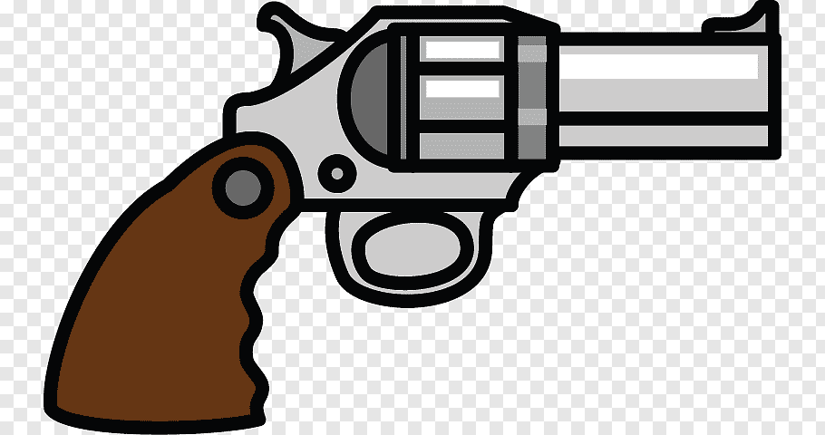 Silver and brown revolver illustration, Firearm Weapon.