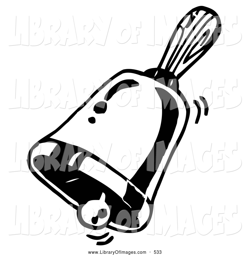 Clip Art of a Coloring Page of a Ringing Handheld Bell by.