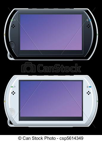 EPS Vectors of portable video game console csp5614349.