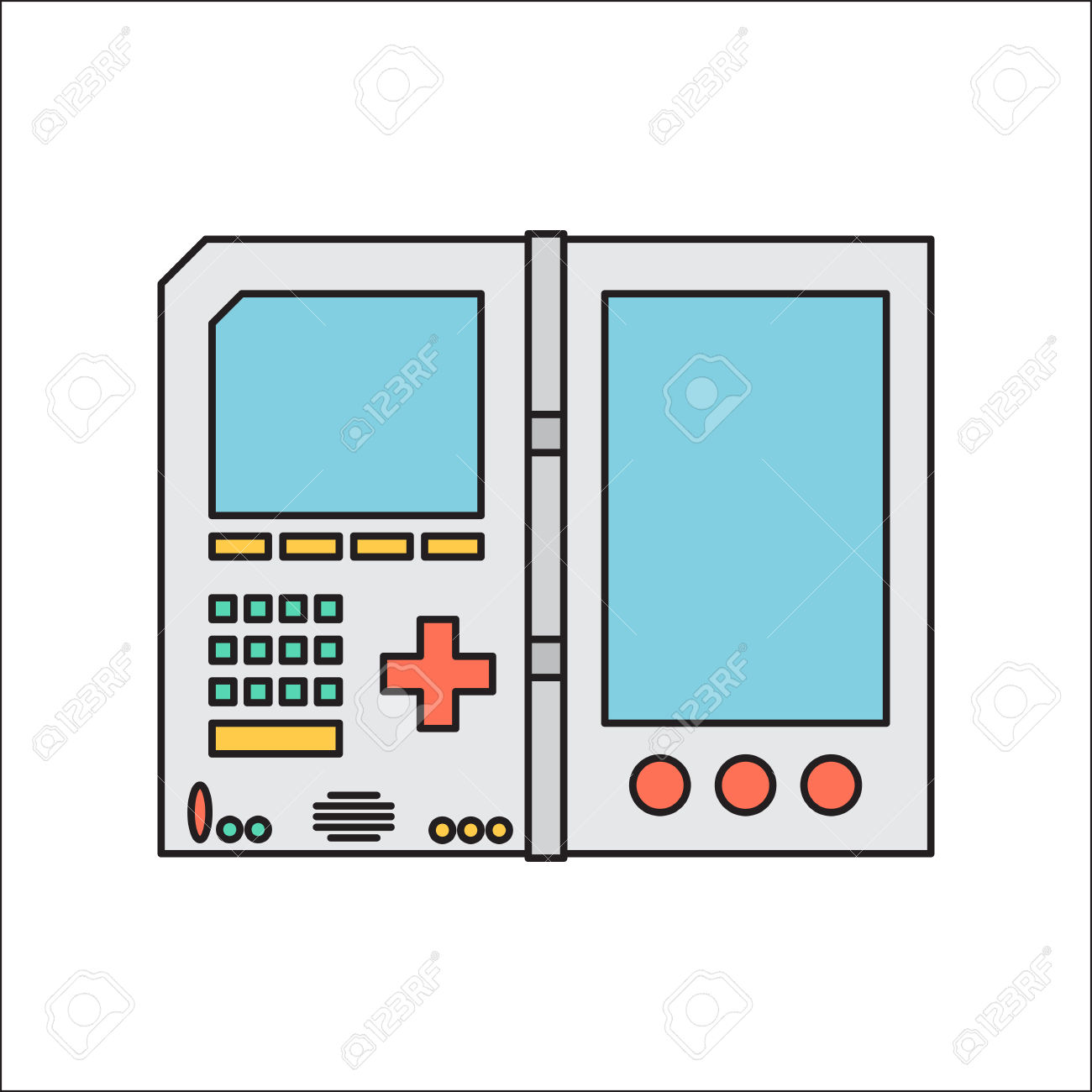 Old Invent Gadget. Flat Designe. Handheld Console. Royalty Free.