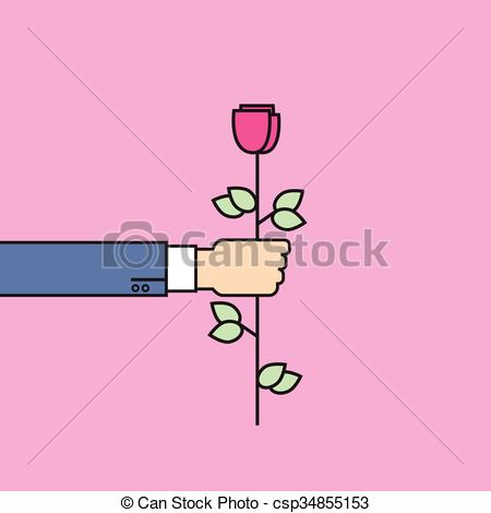 Clipart Vector of Business Man Hand Hold Rose Flower Thin Line.