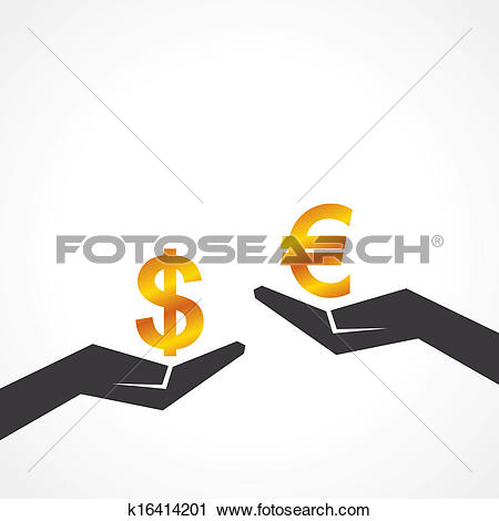 Clipart of Hand hold dollar and euro symbol k16414201.