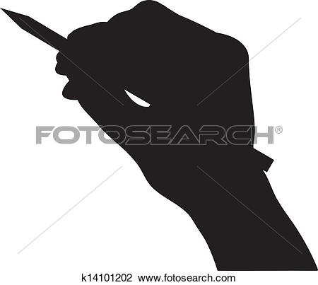 Clipart of hand hold pencil silhouette vector k14101202.
