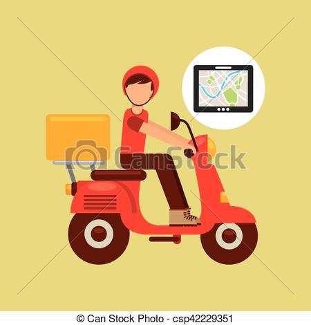 Clipart Vector of hand hold tablet delivery food boy vector.