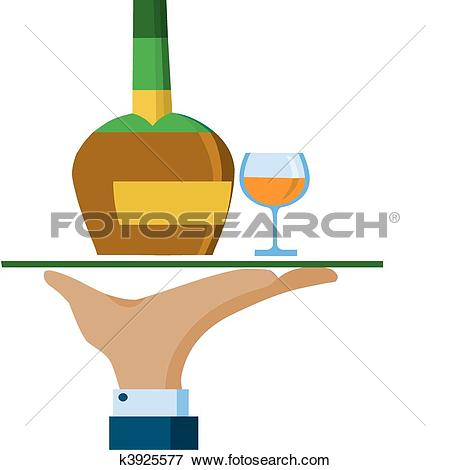 Clip Art of Waiter hand hold a serving tray with whiskey bottle.