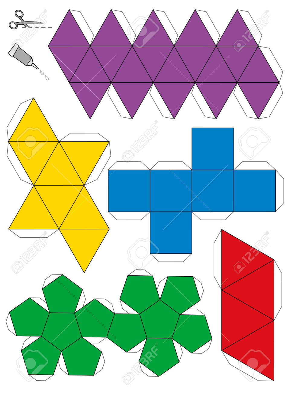 Paper Model Template Of The Five Platonic Solids, To Make A Three.