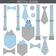 Boy Onesie Accessories Clip Art Pocket Handkerchief Suspender Tie.
