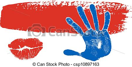 Clip Art Vector of Brush stroke banner with hand, kiss prints.