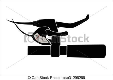 Clip Art Vector of Mountain bike handlebar.