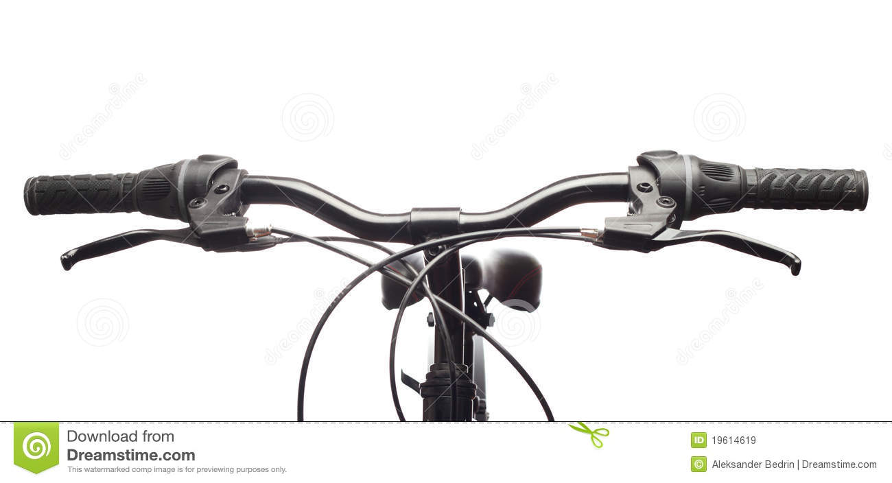 Handlebars Of A Mountain Bicycle. Isolated Royalty Free Stock.