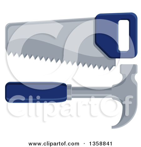 Clipart of a Blue Handled Carpenter's Hand Saw and Hammer.
