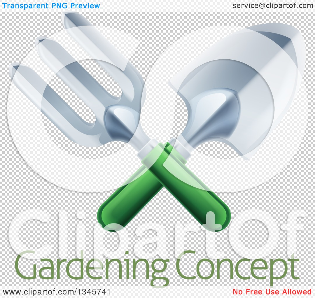 Clipart of a Crossed Green Handled Garden Fork and Trowel Spade.