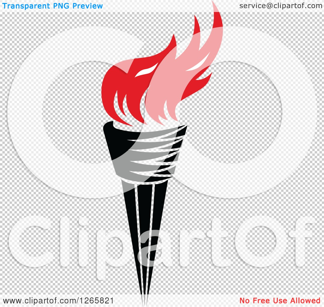 Clipart of a Black Handled Torch with Red Flames.