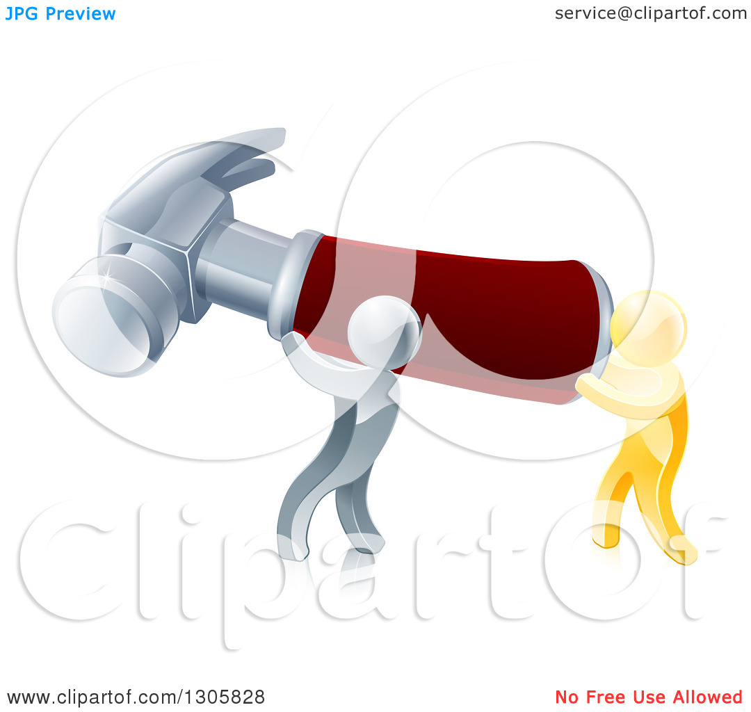 Clipart of 3d Gold and Silver Men Carrying a Giant Red Handled.