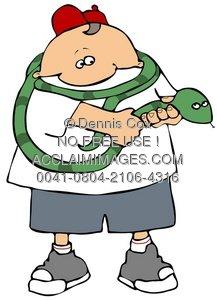 Clipart Illustration:Snake Handler.